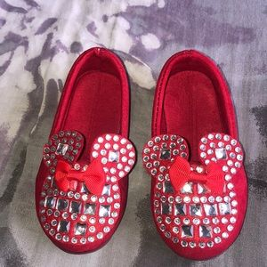 Red Minnie mouse themed jeweled shoes